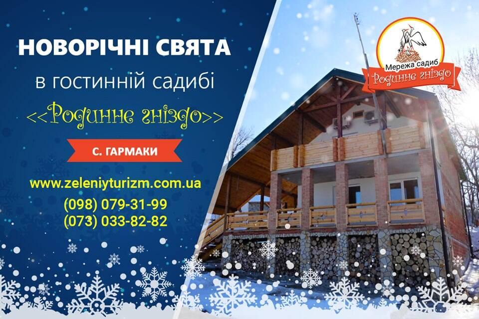 Святкування Нового року 2020 в гостинній садибі «Родинне гніздо» в селі Гармаки, Вінницька область.